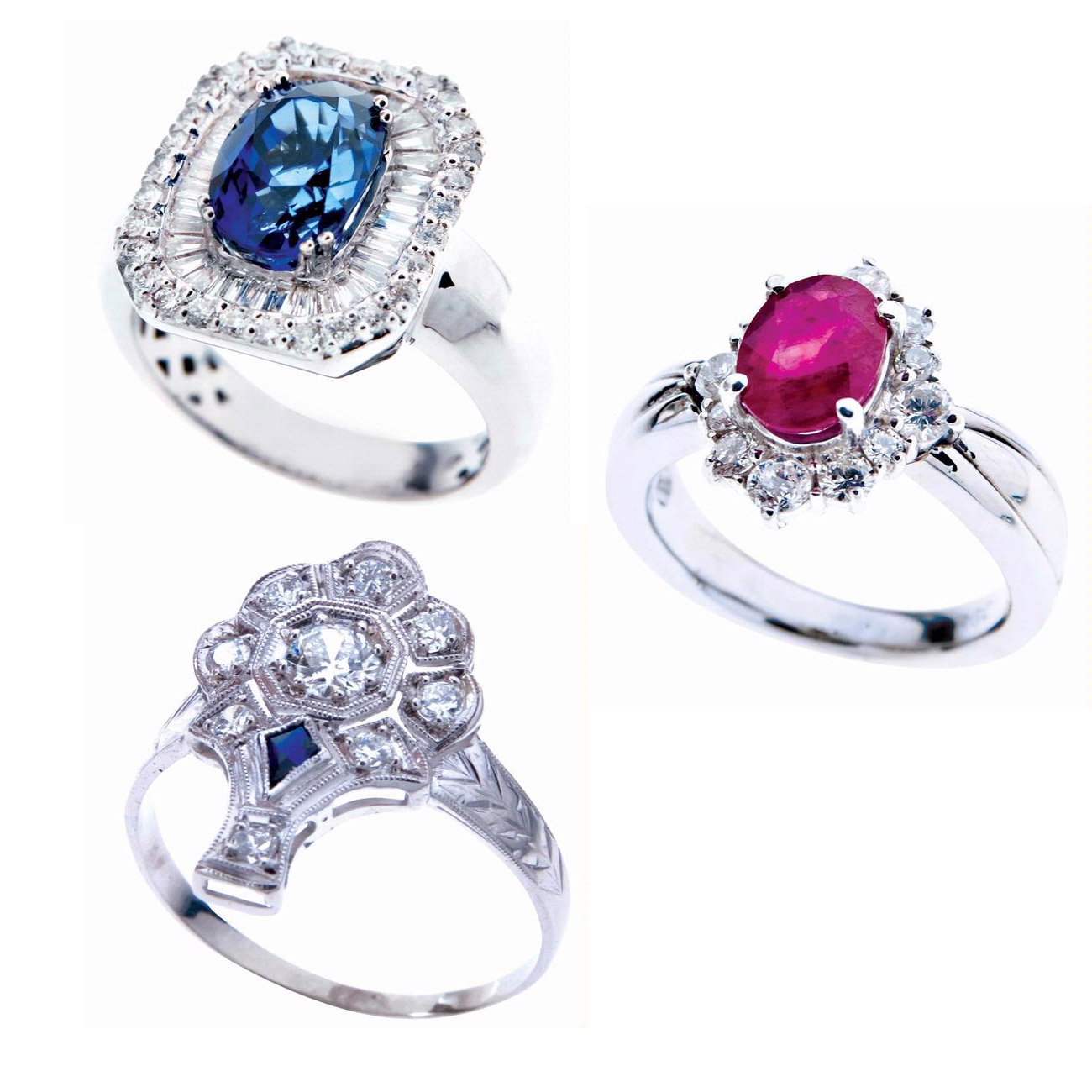 ring s engagement gemstone rainbow colorful titanium women rings silver steel