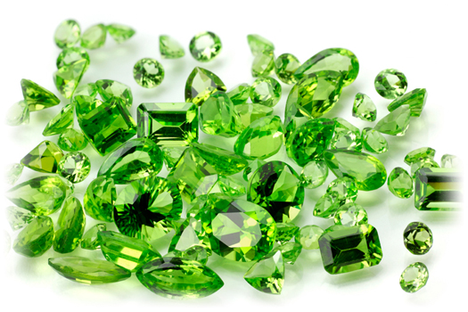 Loose Peridot gemstones