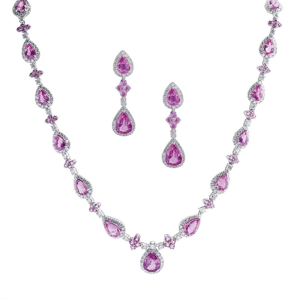 image of pink sapphire necklace and earrings