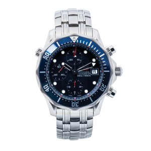 Our San Diego Leo Hamel showroom currently has this preowned collector's Omega Seamaster Chrono Diver James Bond.