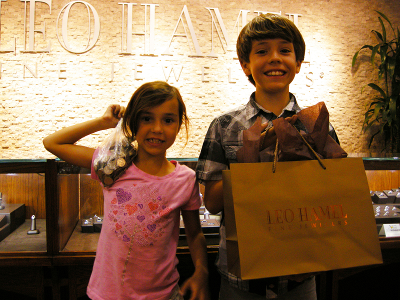 Our youngest customers, 10 year-old Franco Cozza, and his sister, Isabella Cozza, saved up money for their mother's 50th birthday gift from Leo Hamel!