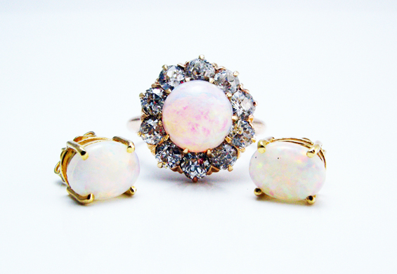 Leo Hamel Fine Jewelers has a large selection of opal jewelry ranging from vintage rings to vintage earrings.