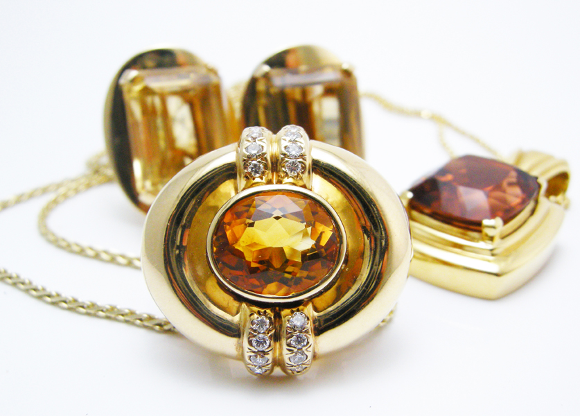 Vintage citrine and topaz jewelry perfect for the month of November, all currently available in our Leo Hamel showroom.