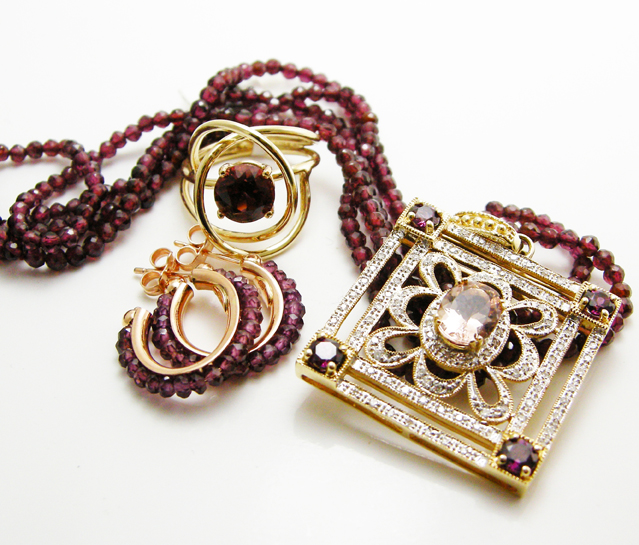 Vintage garnet jewelry at San Diego's Leo Hamel showroom.