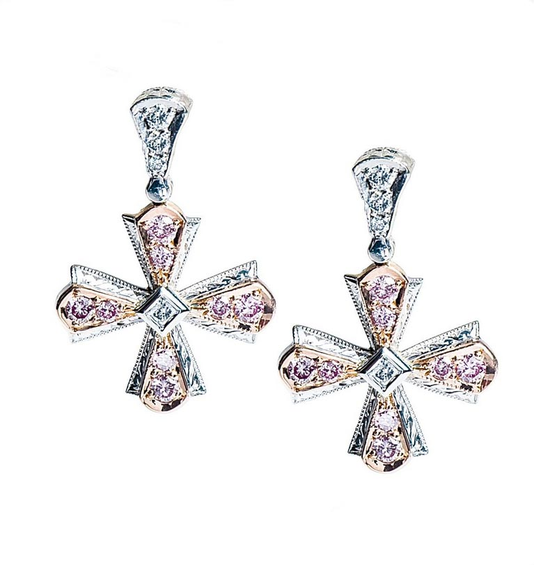 Michael Beaudry Pink Diamond Cross Earrings