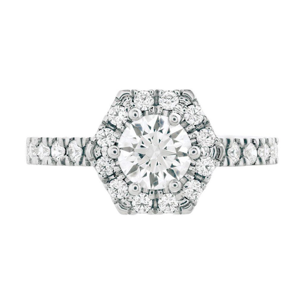 hexagonal diamond ring shape