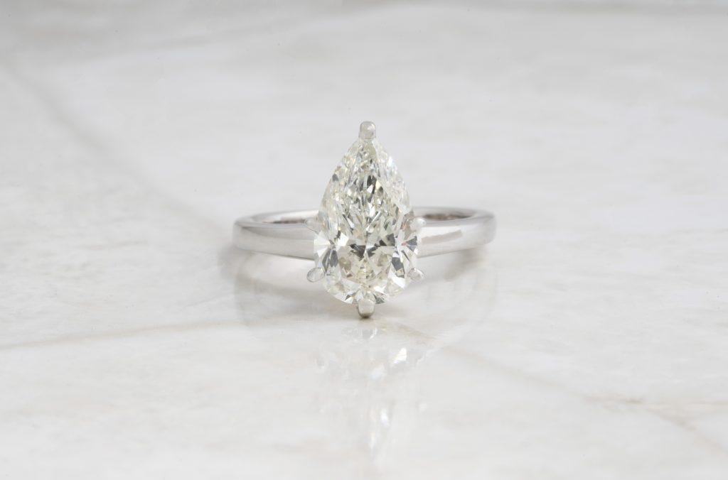 image of pear cut diamond ring shape