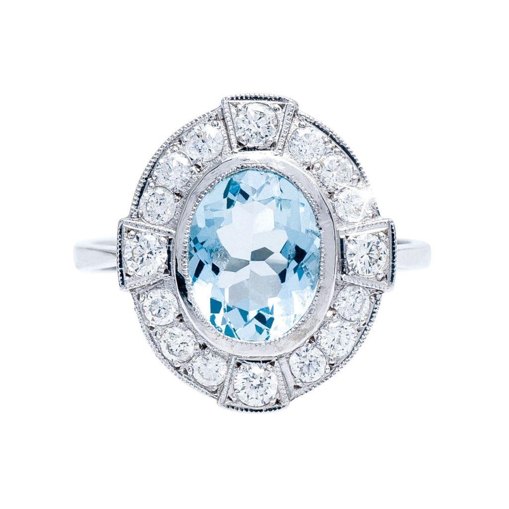 Aquamarine colored gemstone ring