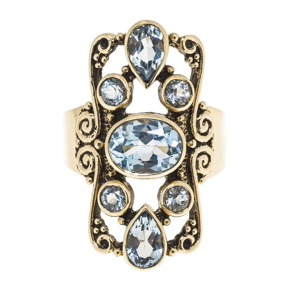 Blue topaz colored gemstone ring