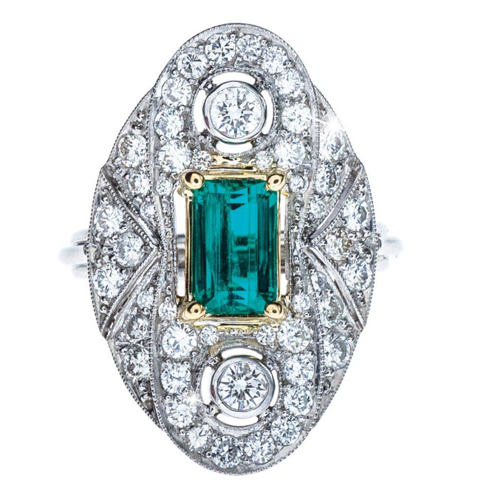 Emerald colored gemstone ring