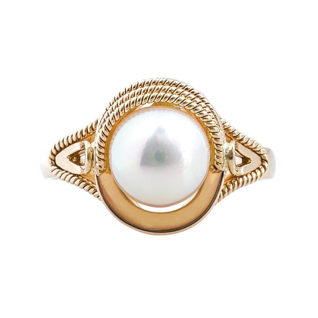 Pearl colored gemstone ring