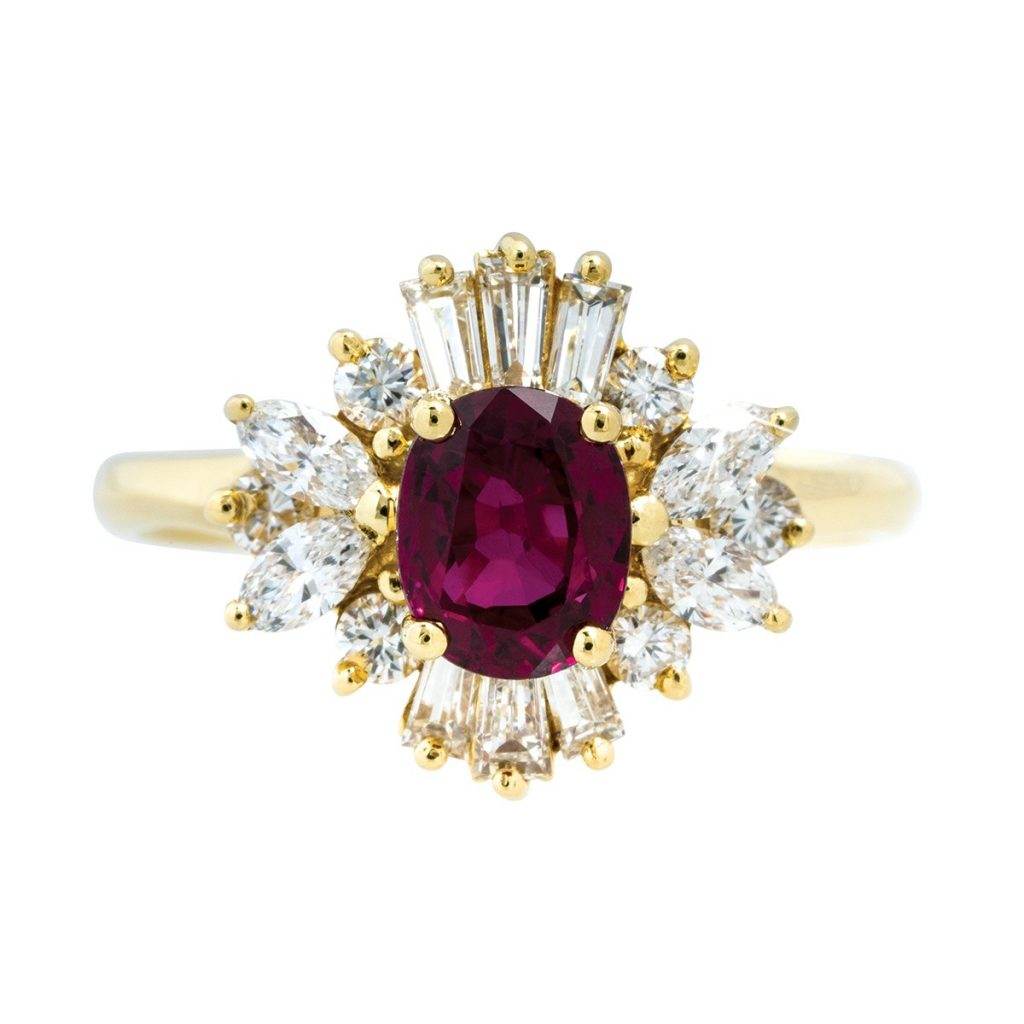 Ruby colored gemstone ring