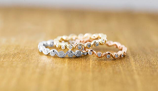 for wedding bands designs creative e shaped rings mix inspration match and spininc wondrous pear