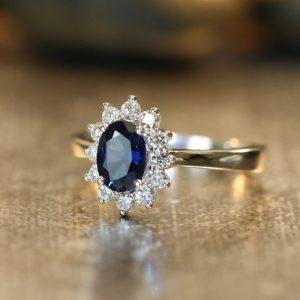 Vintage diamond sapphire engagement ring