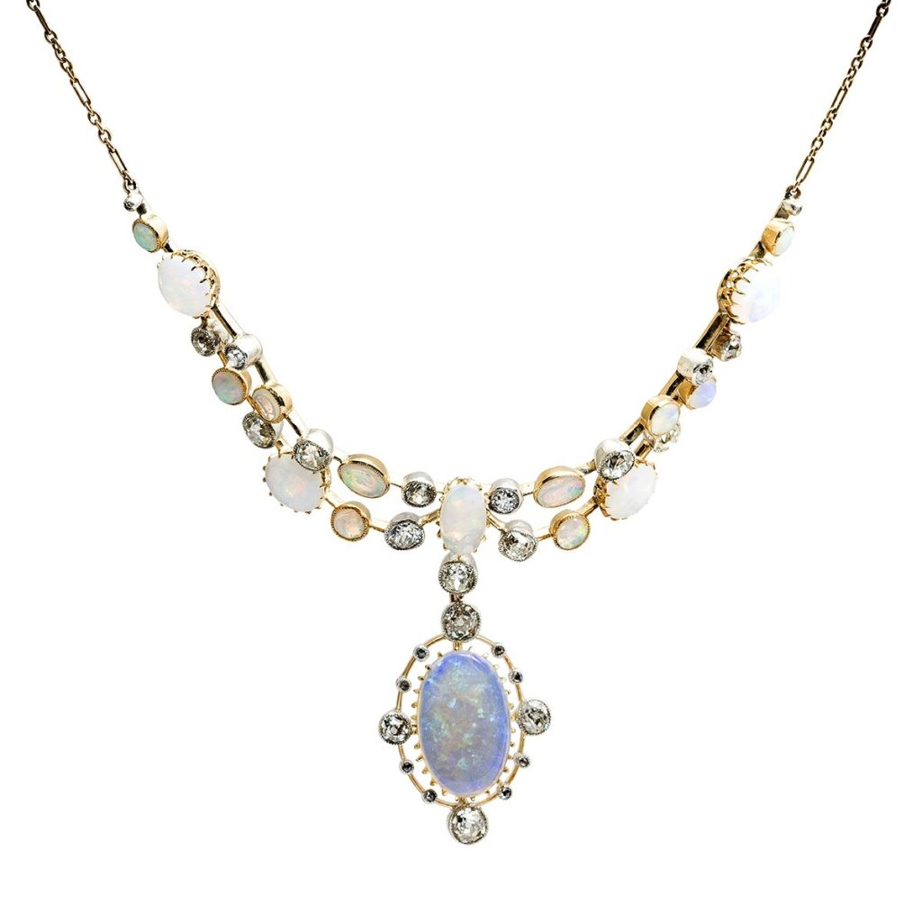 image of opal and diamond necklace october birthstone