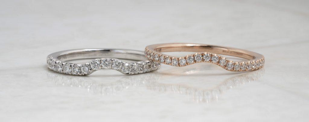 image of notched wedding bands