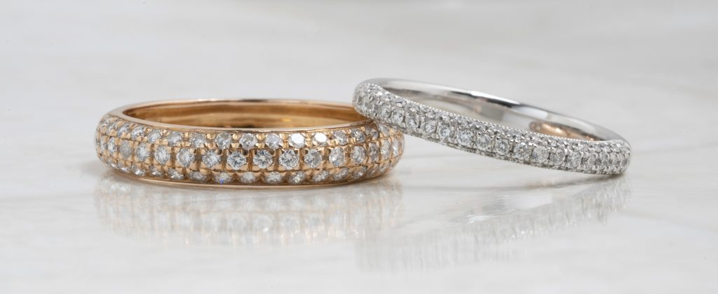 image of pave wedding bands