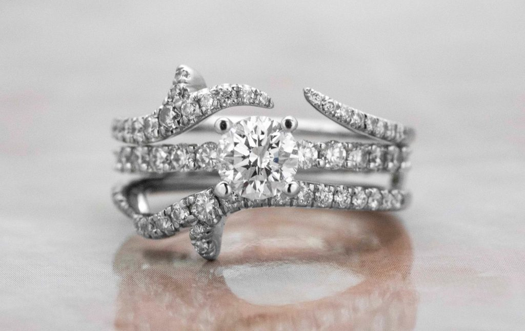 image of solitaire engagement ring with ring guard