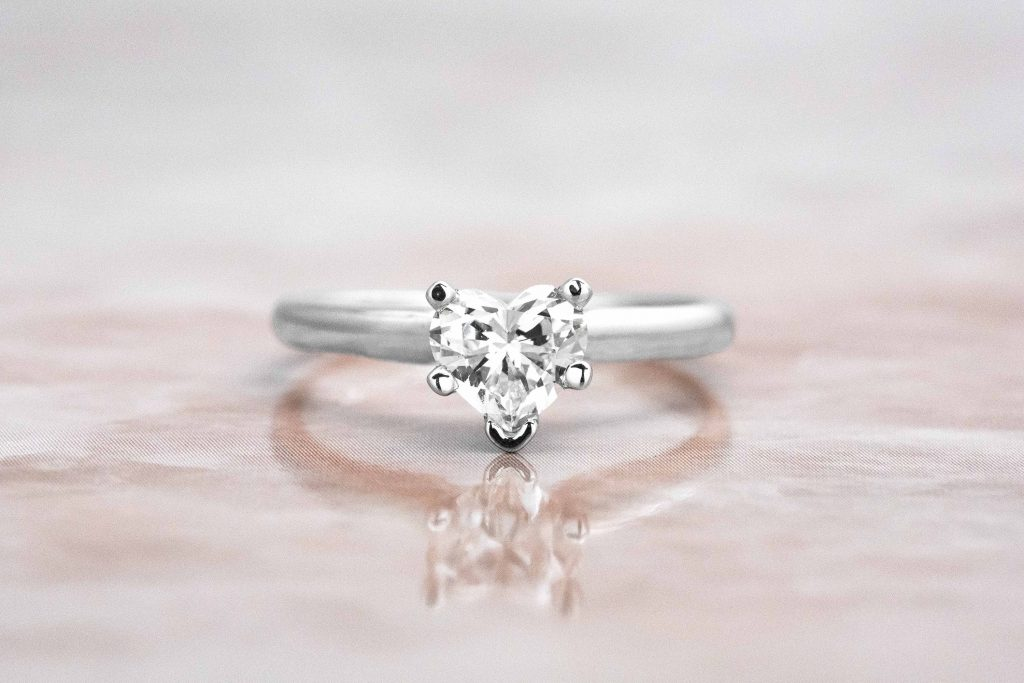 heart shaped dainty engagement ring