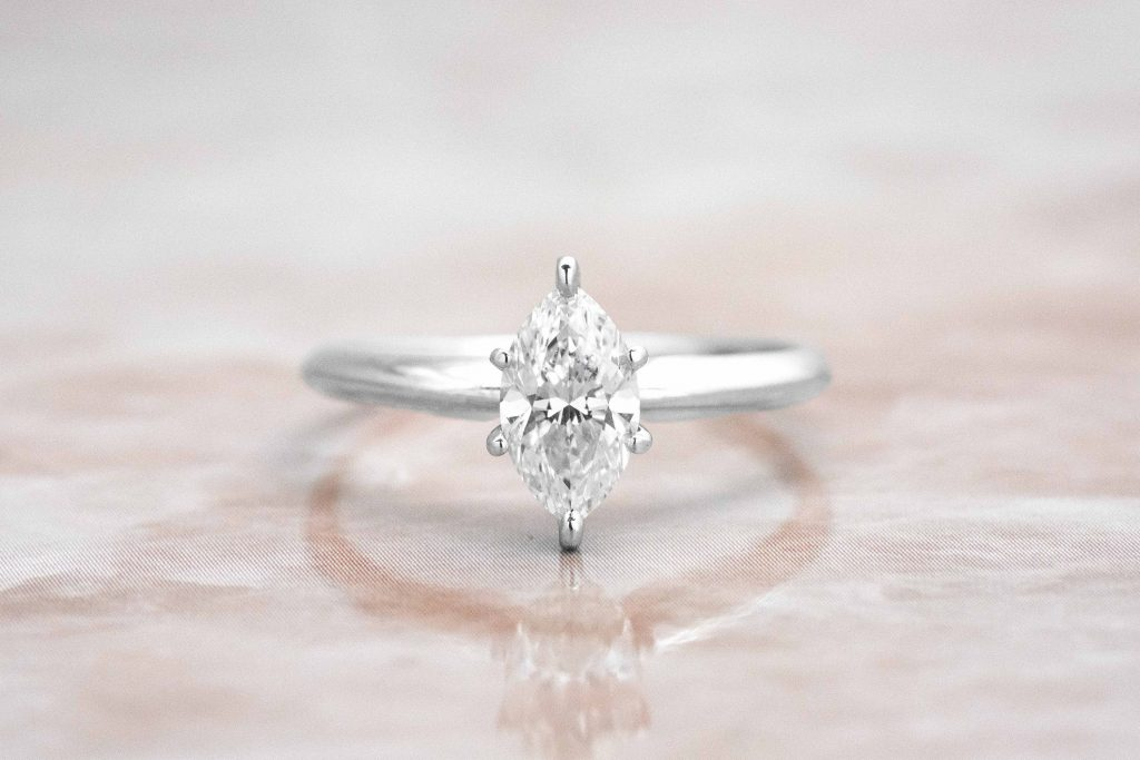 dainty marquise shaped solitaire
