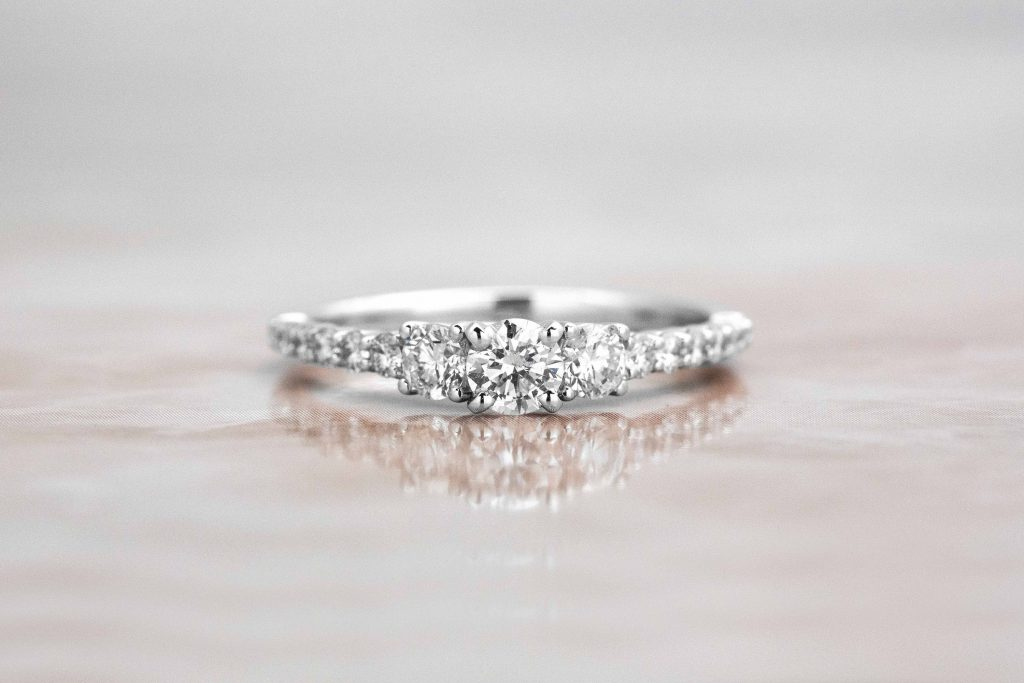 three stone pave dainty ring