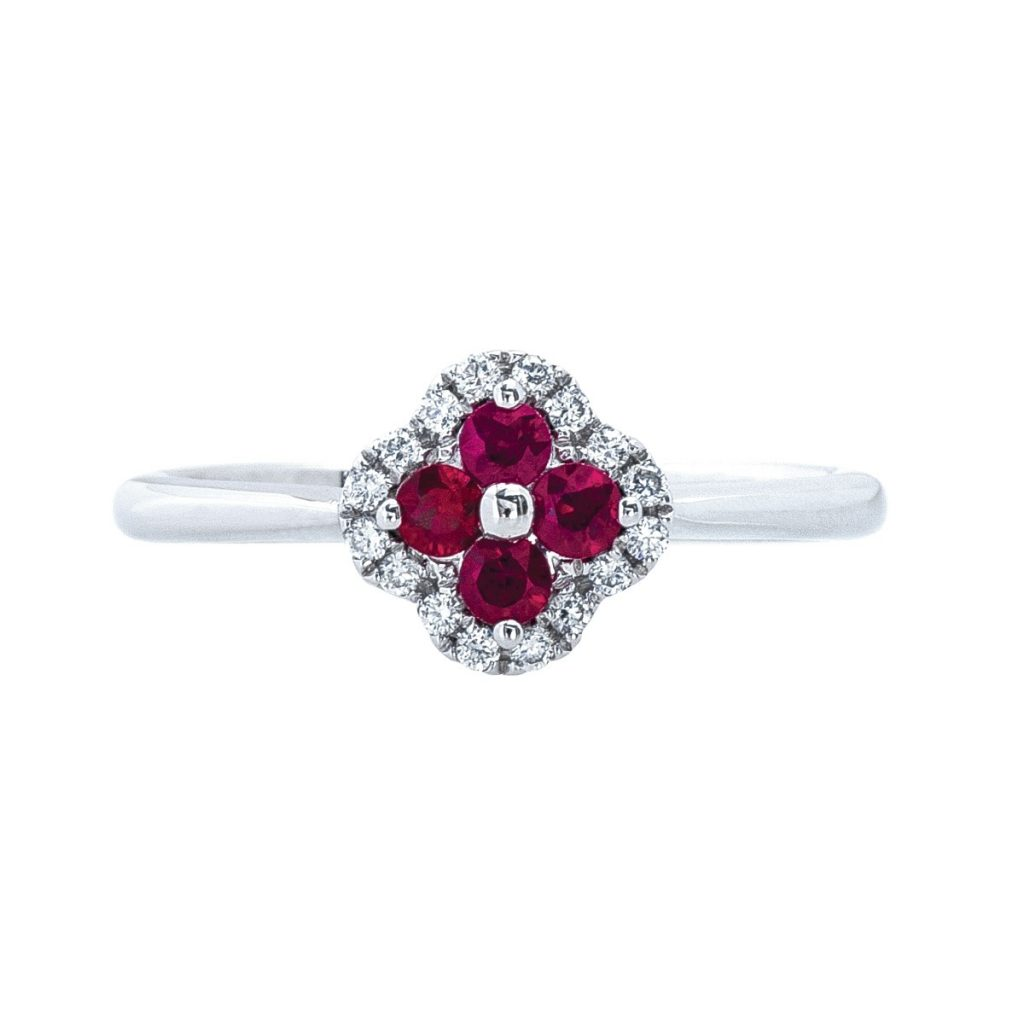 image of July birthstone clover ring