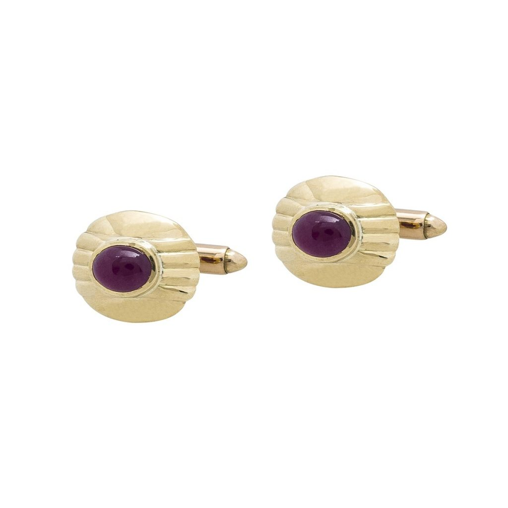 image of yellow gold July birthstone cufflinks