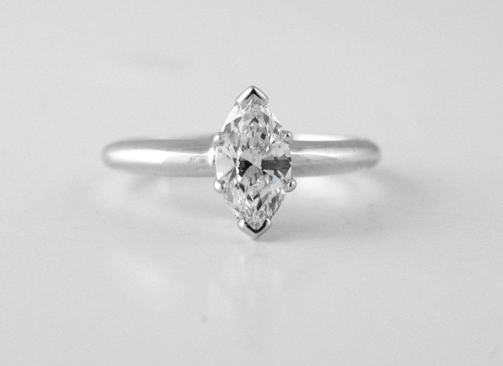 Marquise minimalist engagement ring