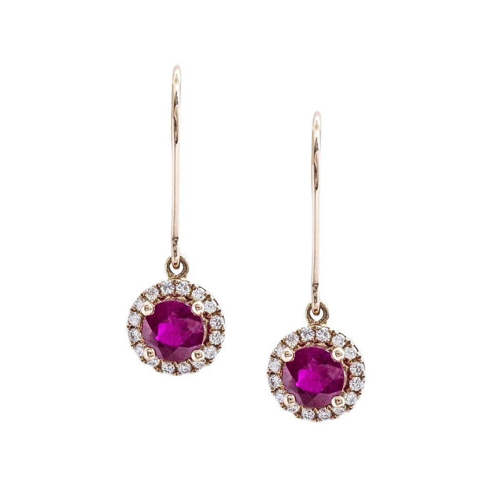 image of July birthstone and diamond halo dangle earrings