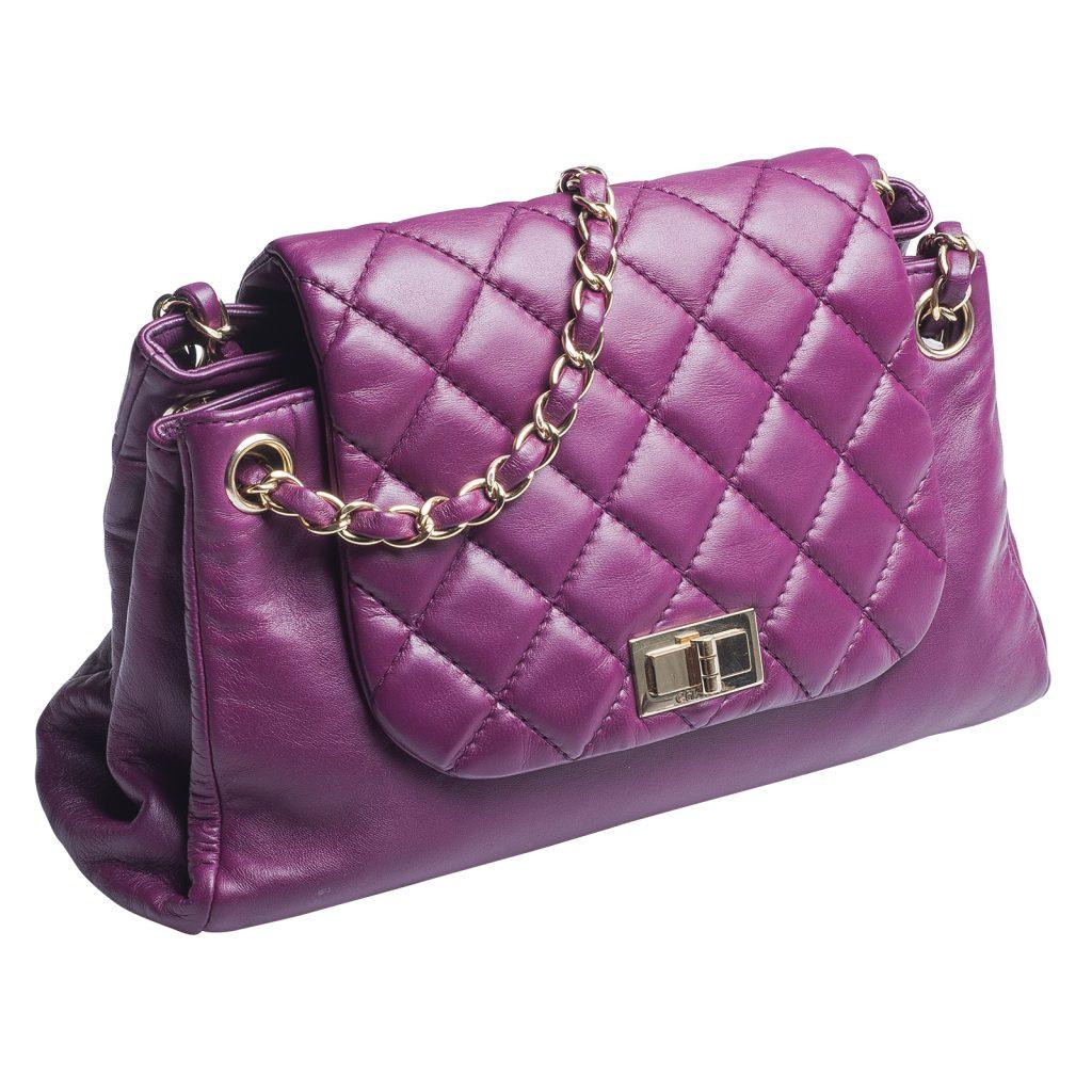 image of purple Chanel classic flap