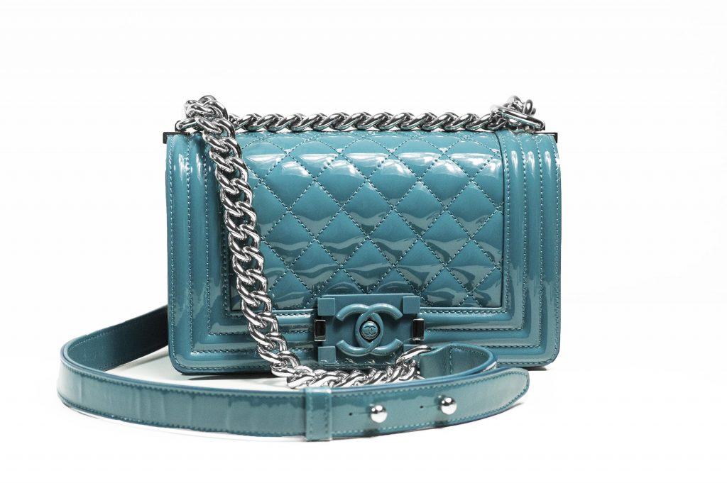image of blue Chanel Boy Bag designer handbag