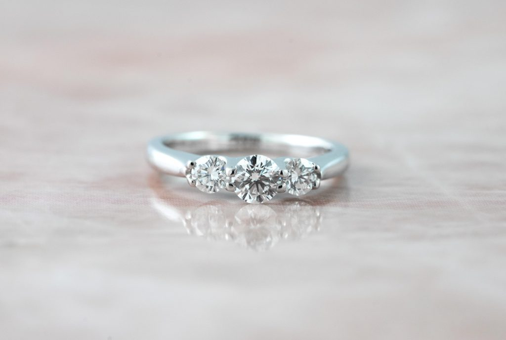 image of three-stone engagement ring