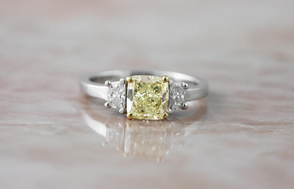 image of yellow diamond engagement ring
