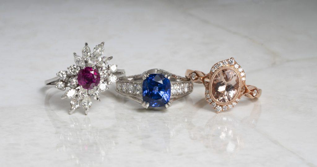image of gemstone engagement rings