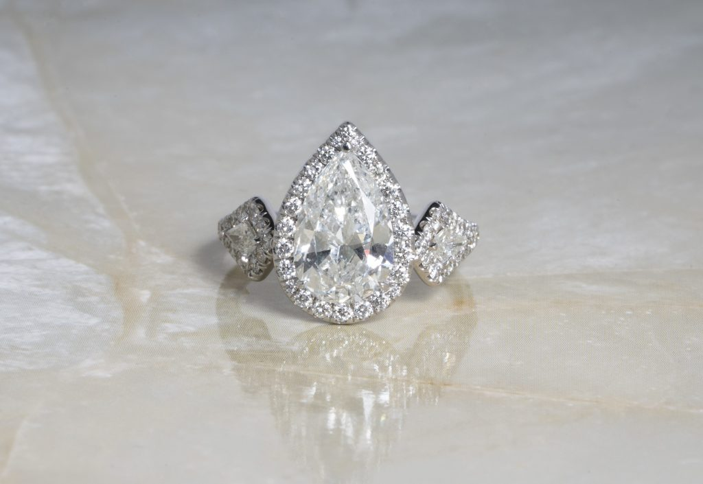 image of pear shaped engagement ring