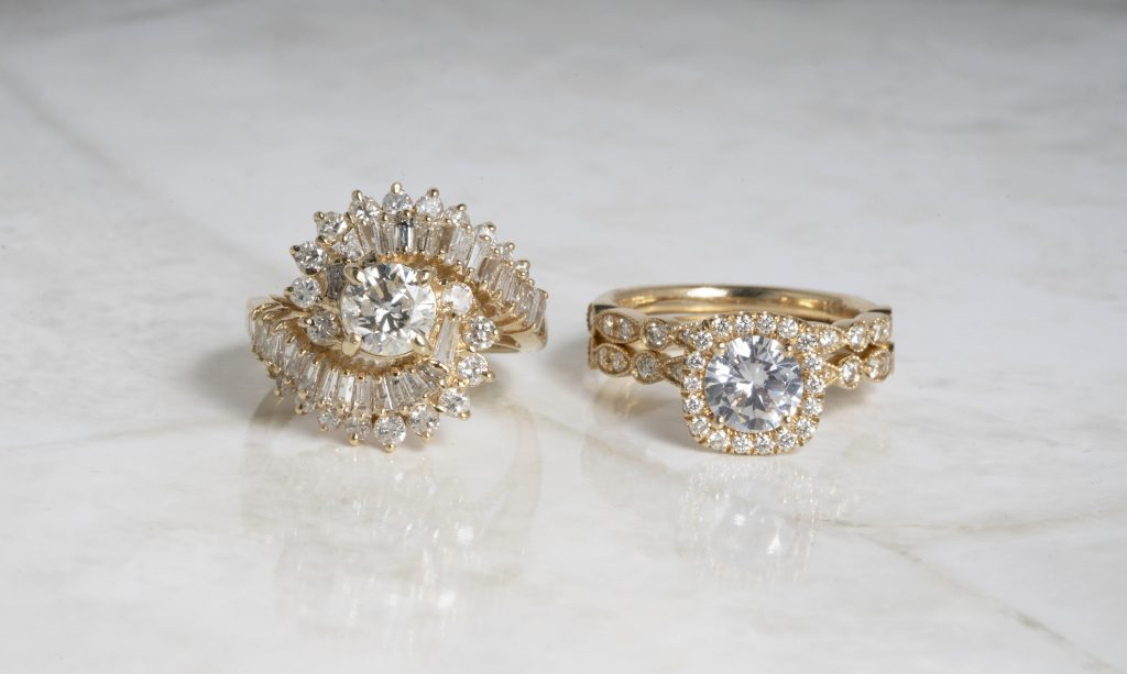 image of yellow gold engagement rings