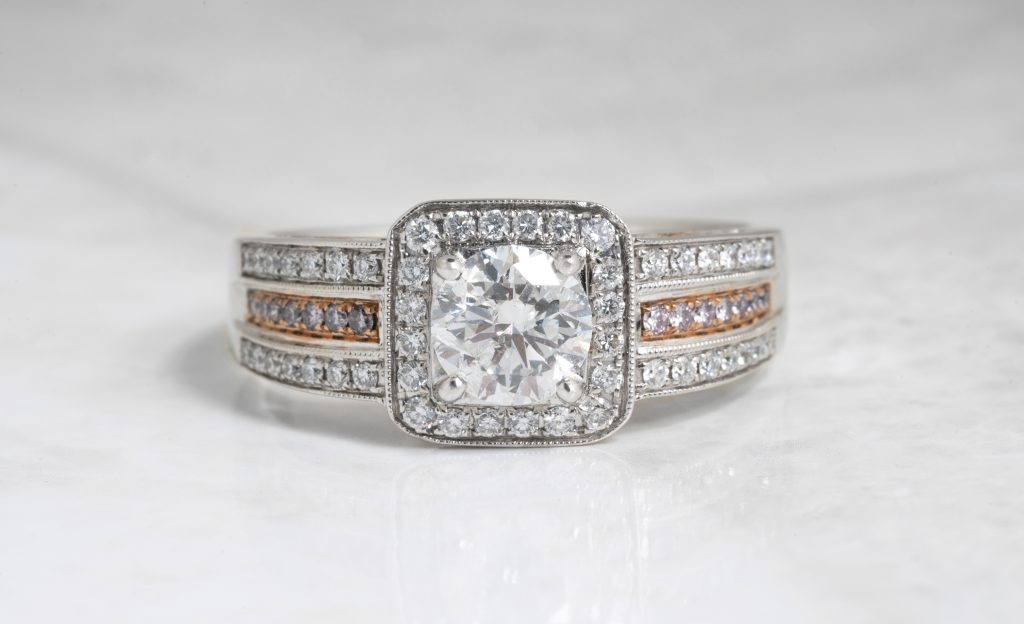 image of mixed metal engagement ring
