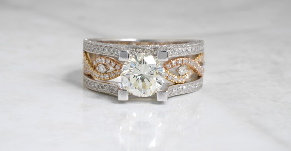 image of mixed metal engagement rings