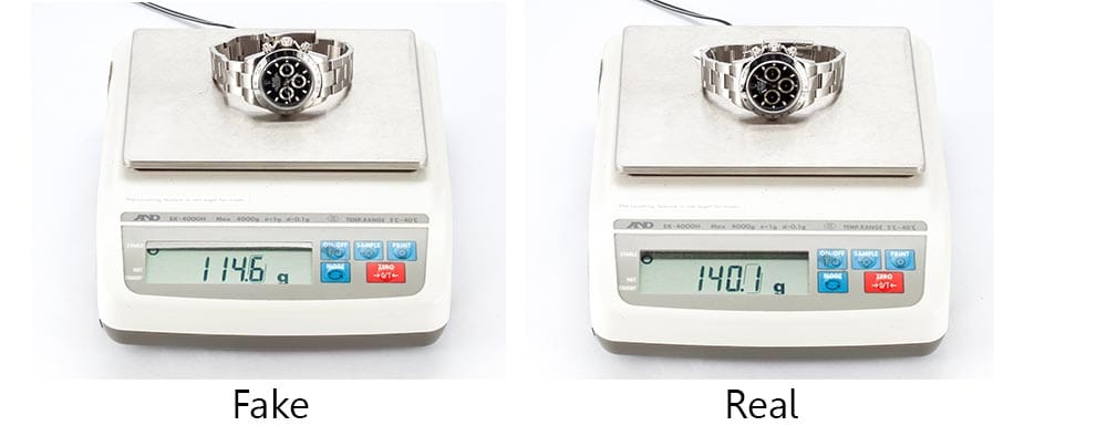 image of rolex weight real vs fake rolex