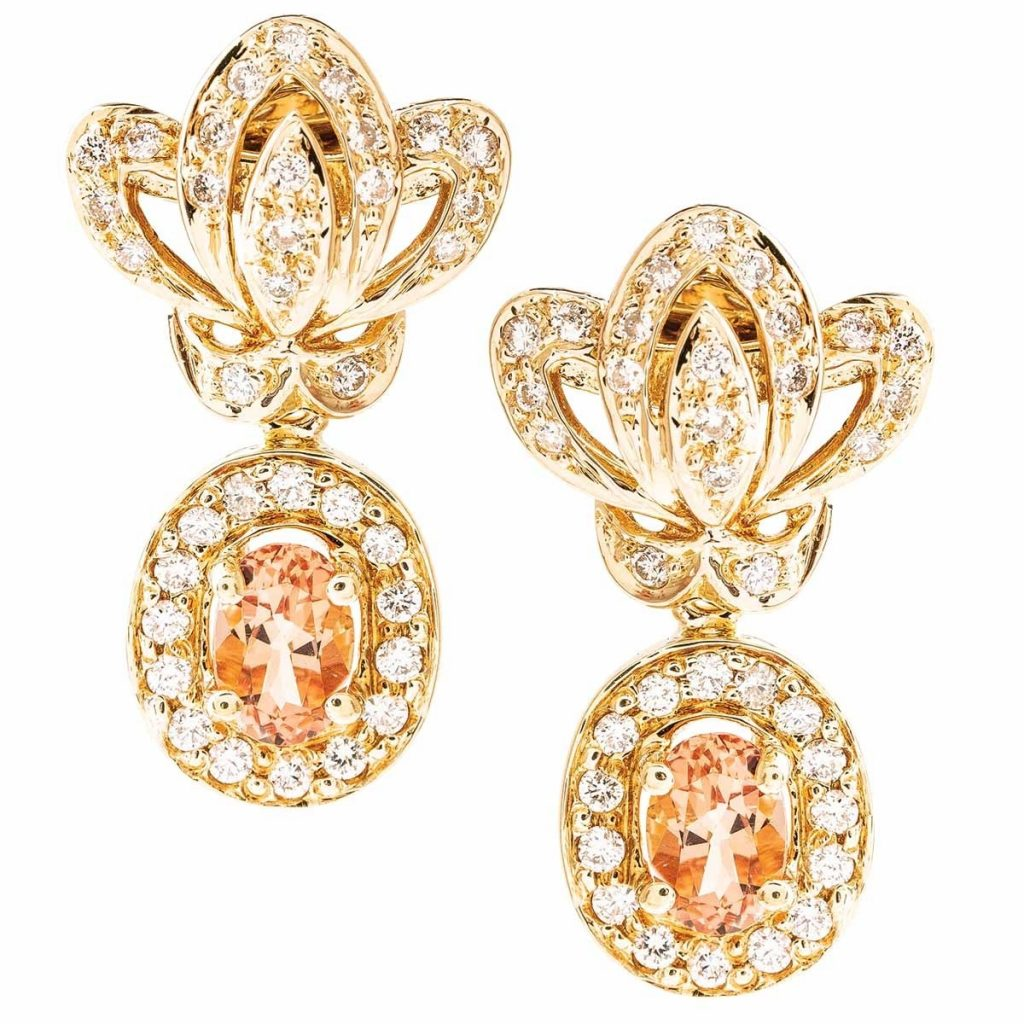image of yellow gold earrings wedding jewelry