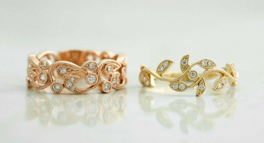 image of nature inspired unique wedding rings