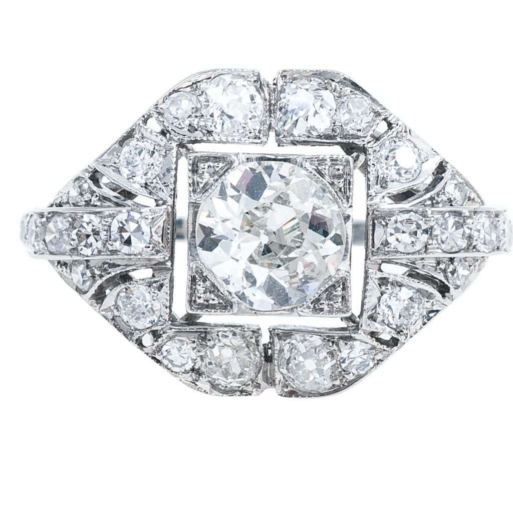 image of art deco engagement ring