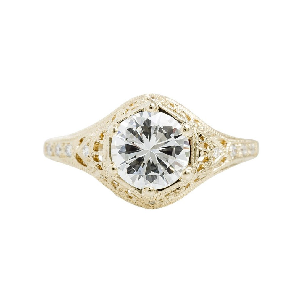 image of yellow gold art deco engagement ring