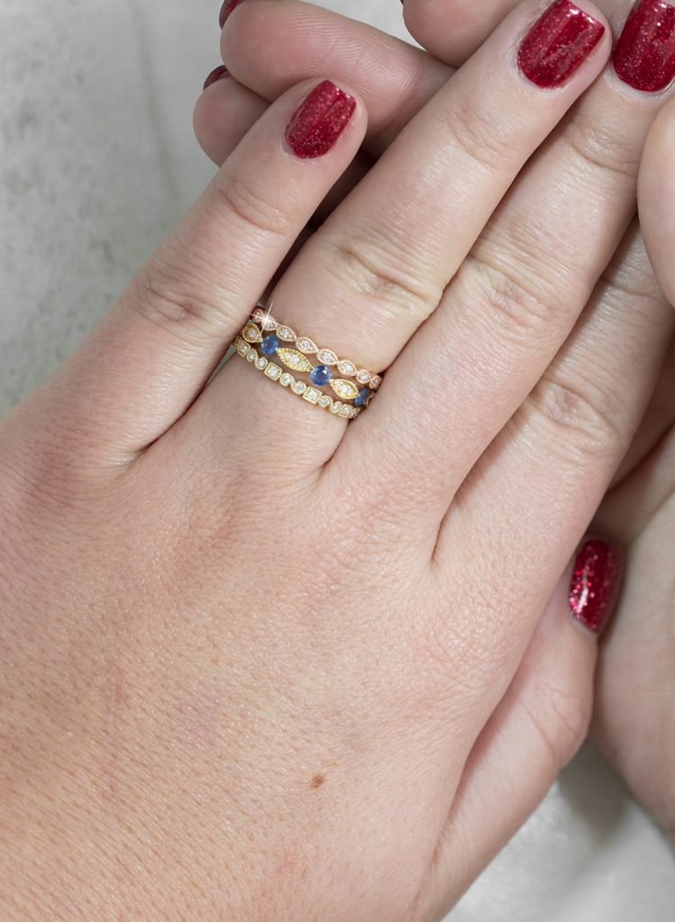 image of yellow gold stackable rings