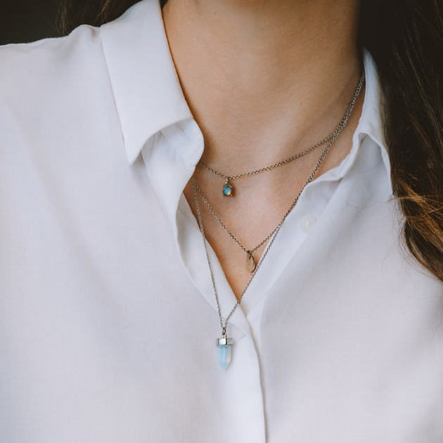 image of different length layering necklaces