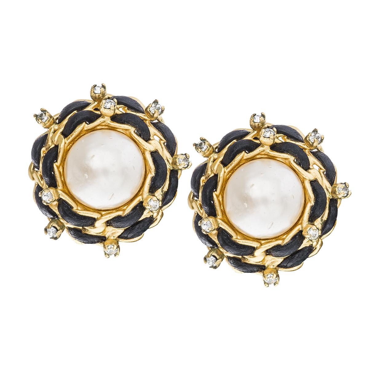 vintage chanel pearl leather earrings