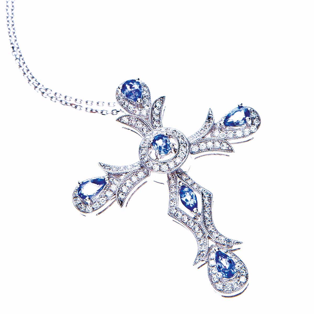 New Judy Mayfield 2.12 CTW Diamond & Tanzanite Cross Pendant