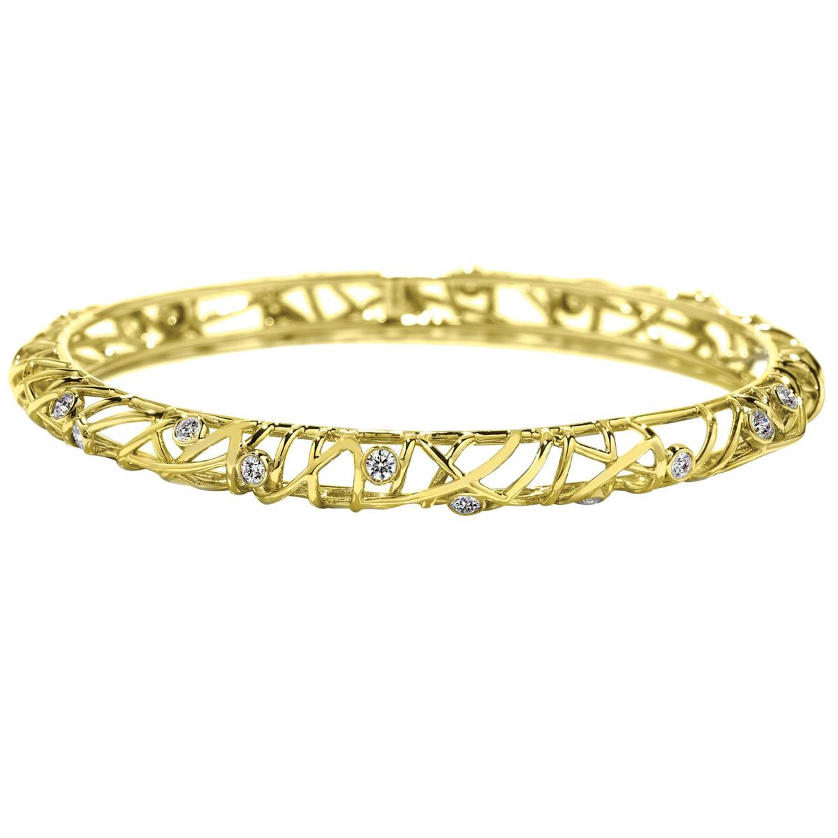 Hearts On Fire® Yellow Gold Brocade 1.09 CTW Diamond Bangle
