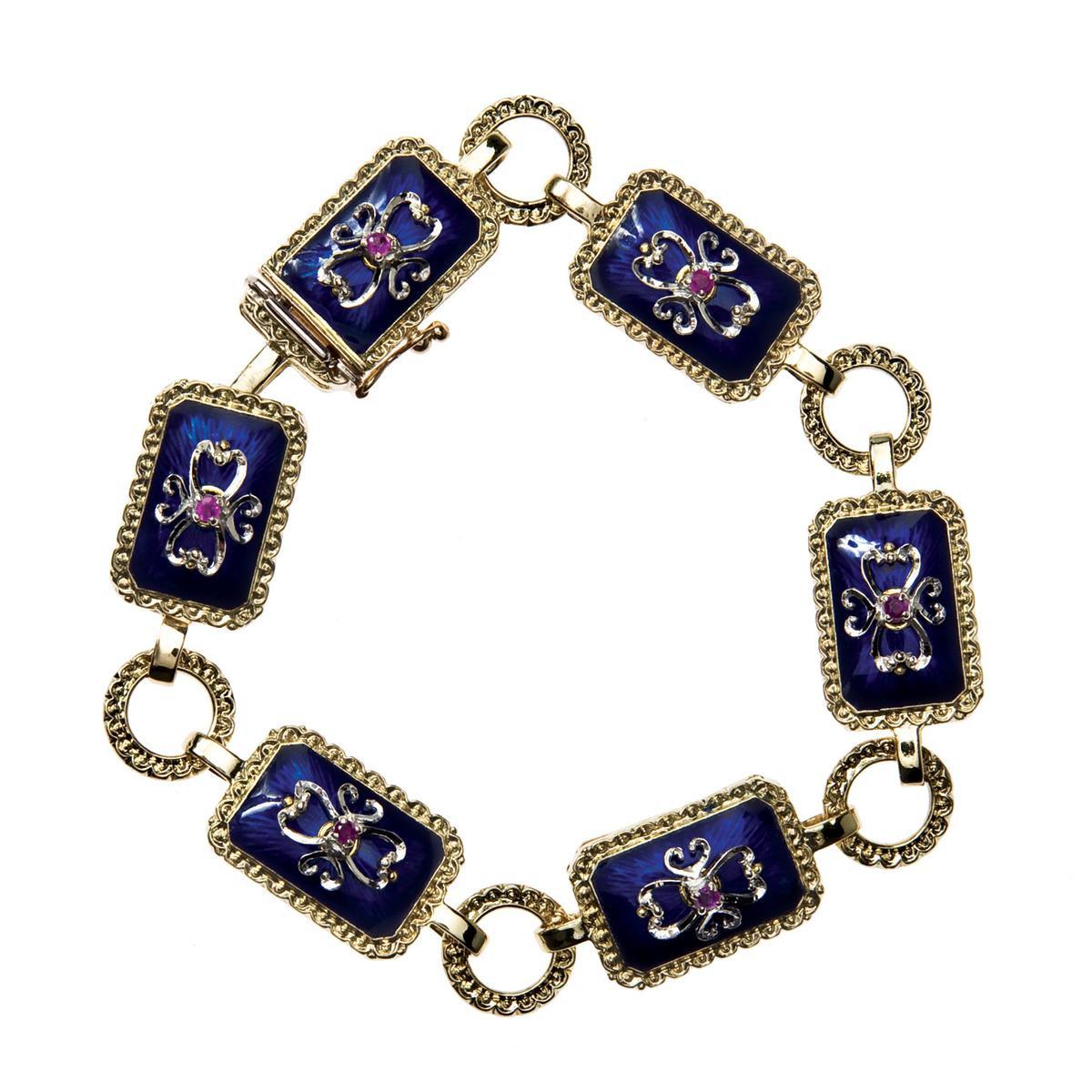 Vintage Ruby & Blue Enamel Bracelet