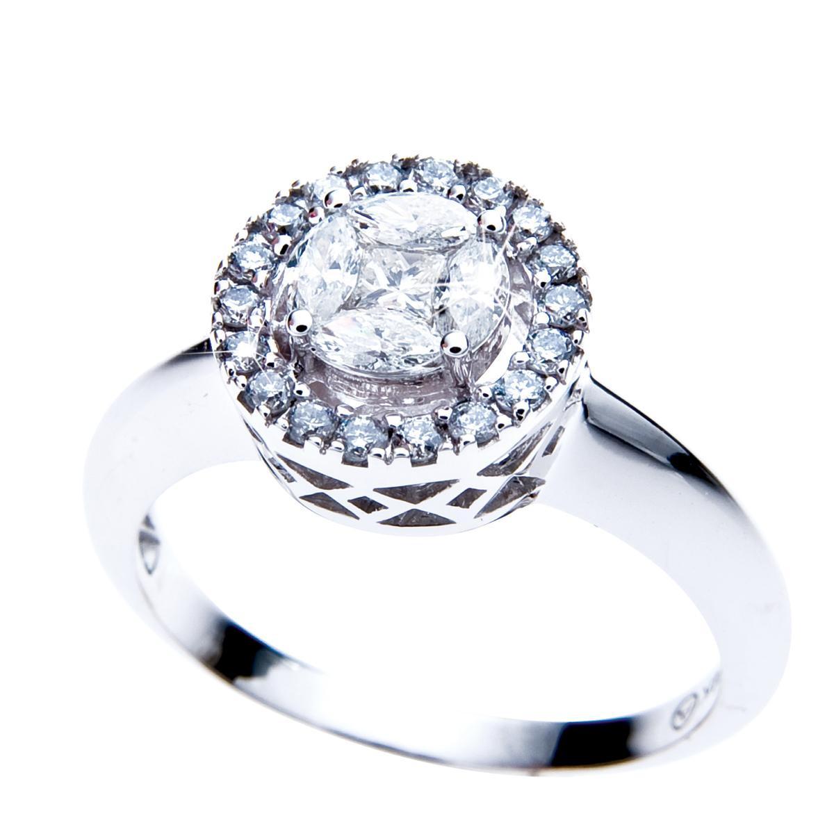 New Oro Alexander 0.55 CTW Diamond Halo Engagement Ring